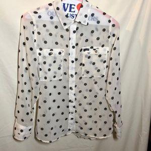 Hurley sheer off white blouse w black polka dots
